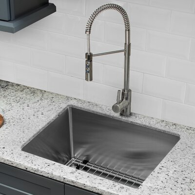 16 Gauge Stainless Steel 20 x 15 Undermount Bar and Prep Sink with Pull Out Faucet and Soap Dispenser