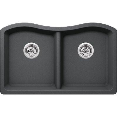 32.5 x 20 Quartz Double Bowl Kitchen Sink Finish: Grey