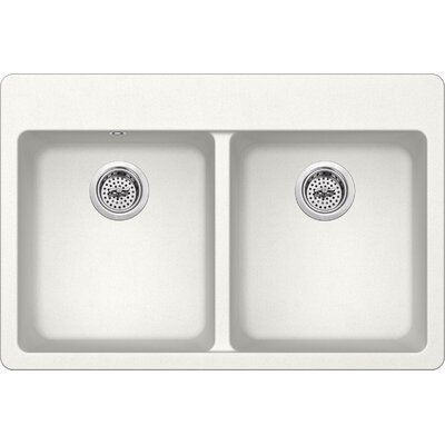 33 x 22 Quartz Double Bowl Kitchen Sink with Twist and Lock Strainer Finish: Alpine White