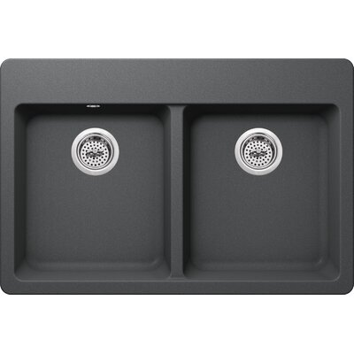 33 x 22 Quartz Double Bowl Kitchen Sink with Twist and Lock Strainer Finish: Grey