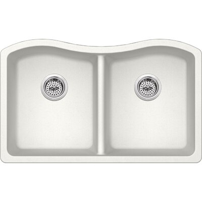 32.5 x 20 Quartz Double Bowl Kitchen Sink Finish: Alpine White