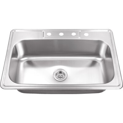 20 Gauge Stainless Steel 33 x 22 Drop-In Kitchen Sink