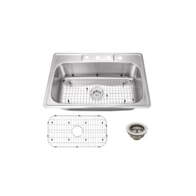 20 Gauge Stainless Steel 33 x 22 Drop-In Kitchen Sink with Sink Grid and Drain Assembly