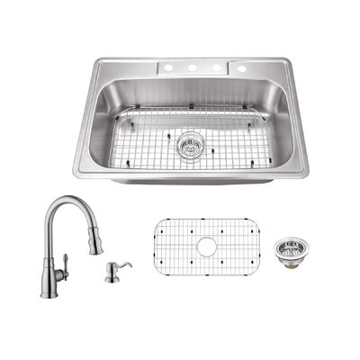 20 Gauge Stainless Steel 33 x 22 Drop-In Kitchen Sink with Faucet Faucet Finish: Brushed Nickel