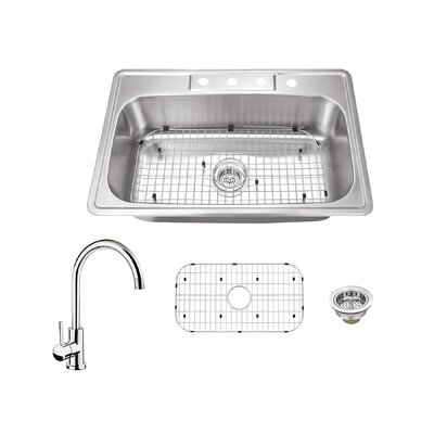 20 Gauge Stainless Steel 33 x 22 Drop-In Kitchen Sink with Faucet Faucet Finish: Polished Chrome
