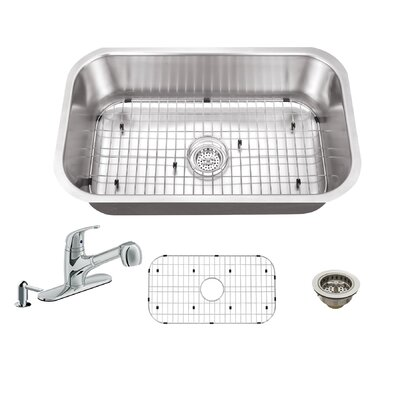 30 x 18 Single Bowl Undermount Kitchen Sink with Faucet Faucet Finish: Polished Chrome