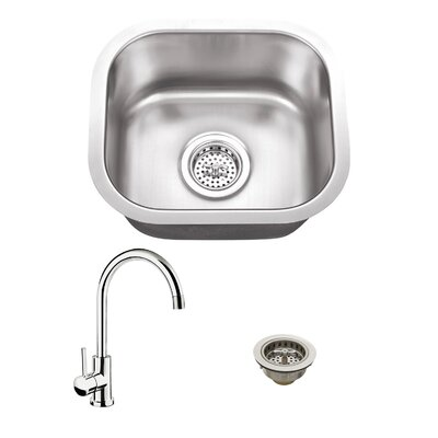 14.5 x 13 Single Bowl Bar Sink with Faucet Faucet Finish: Polished Chrome