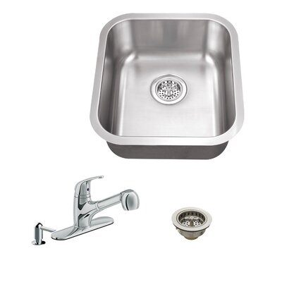 16.13 x 18 Single Bowl Bar Sink with Faucet Faucet Finish: Polished Chrome