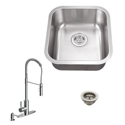 18 Gauge Stainless Steel 18 x 16.13 Undermount Bar Sink with Pull Out Faucet and Soap Dispenser Faucet Finish: Polished Chrome