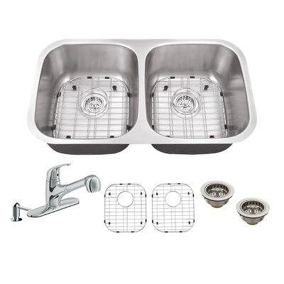 32.25 x 18.5 Double Bowl Undermount Kitchen Sink with Faucet Faucet Finish: Polished Chrome