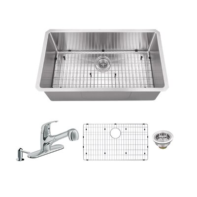 Radius 16 Gauge Stainless Steel 32 x 19 Single Bowl Undermount Kitchen Sink with Faucet and Soap Dispenser Faucet Finish: Polished Chrome