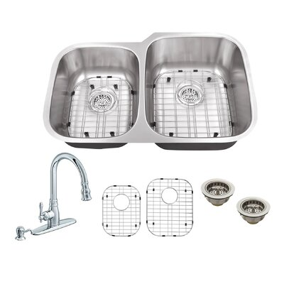 32 x 20.75 Double Bowl Undermount Kitchen Sink with Faucet Faucet Finish: Polished Chrome