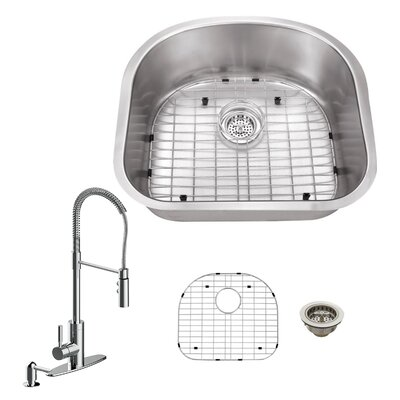 16 Gauge Stainless Steel 23.25 x 20.88 Undermount Kitchen Sink with Pull Out Faucet and Soap Dispenser Faucet Finish: Polished Chrome