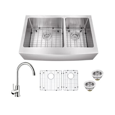 16 Gauge Stainless Steel 35.88 x 20.75 Double Basin Farmhouse/Apron 60/40 Kitchen Sink with Gooseneck Faucet Faucet Finish: Polished Chrome