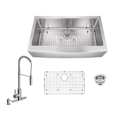 32.88 x 20.57 Apron Front Single Bowl Undermount Stainless Steel Kitchen Sink with Faucet Faucet Finish: Polished Chrome