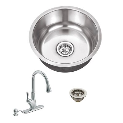 18 Gauge Stainless Steel 17.13 x 17.13 Undermount Bar Sink with Gooseneck Faucet Faucet Finish: Polished Chrome