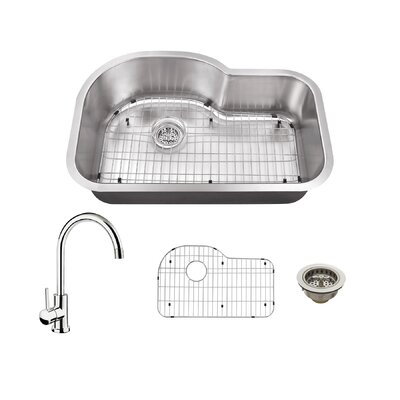18 Gauge Stainless Steel 31.5 x 21.13 Undermount Kitchen Sink with Gooseneck Faucet Faucet Finish: Polished Chrome