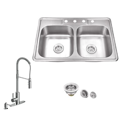 20 Gauge Stainless Steel 33 x 22 Double Basin Drop-In Kitchen Sink with Pull Out Faucet and Soap Dispenser Faucet Finish: Polished Chrome
