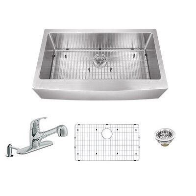 36 x 20.75 Apron Front Single Bowl Undermount Stainless Steel Kitchen Sink with Faucet Faucet Finish: Polished Chrome