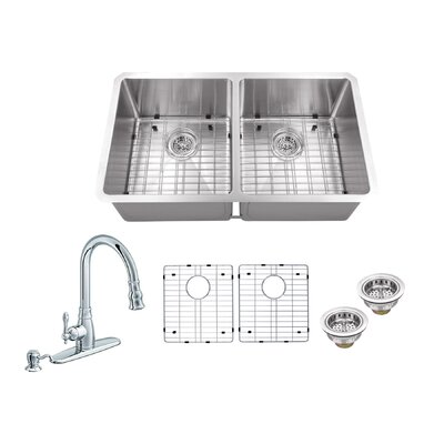 Radius 16 Gauge Stainless Steel 32 x 19 50/50 Double Bowl Undermount Kitchen Sink with Faucet and Soap Dispenser Faucet Finish: Polished Chrome