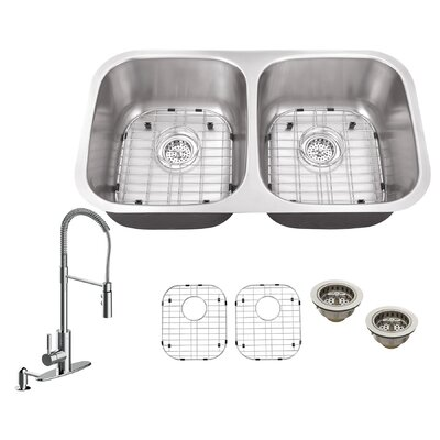 18 Gauge Stainless Steel 29.13 x 18.5 Double Basin Undermount Kitchen Sink with Pull Out Faucet with Soap Dispenser Faucet Finish: Polished Chrome