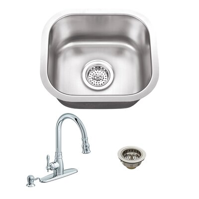 18 Gauge Stainless Steel 14.5 x 13 Undermount Bar Sink with Arc Faucet Faucet Finish: Polished Chrome