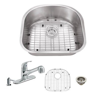 16 Gauge Stainless Steel 23.25 x 20.88 Undermount Kitchen Sink with Low Profile Pull Out Faucet Faucet Finish: Polished Chrome