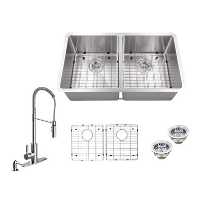 Radius 16 Gauge Stainless Steel 32 x 19 50/50 Double Bowl Undermount Kitchen Sink with Pull Out Faucet and Soap Dispenser Faucet Finish: Polished Chrome