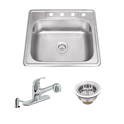 25 x 22 Single Bowl Drop-In Stainless Steel Kitchen Sink with Faucet Faucet Finish: Polished Chrome