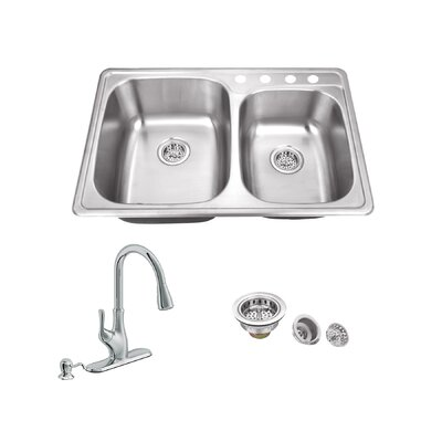 33.13 x 22 Double Bowl Drop-In Kitchen Sink with Faucet Faucet Finish: Polished Chrome