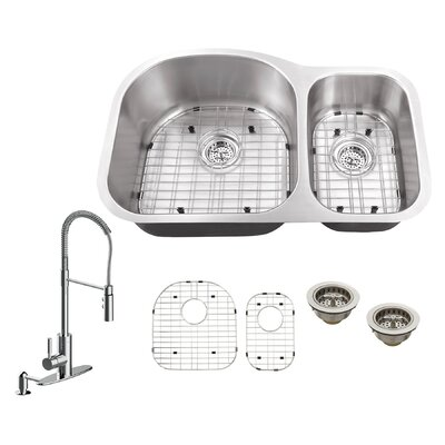 31.5 x 20.5 Double Bowl Undermount Kitchen Sink with Faucet Faucet Finish: Polished Chrome