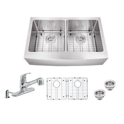 32.88 x 20.75 Apron Front 50/50 Undermount Stainless Steel Kitchen Sink with Faucet Faucet Finish: Polished Chrome