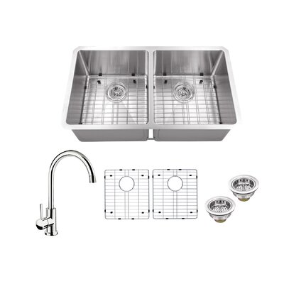 Radius 16 Gauge Stainless Steel 32 x 19 50/50 Double Bowl Undermount Kitchen Sink with Gooseneck Faucet Faucet Finish: Polished Chrome