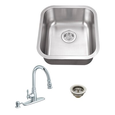 18 Gauge Stainless Steel 18 x 16.13 Undermount Bar Sink with Arc Faucet Faucet Finish: Polished Chrome