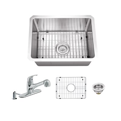 Radius 16 Gauge Stainless Steel 15 x 20 Single Bowl Undermount Bar Sink with Faucet and Soap Dispenser Faucet Finish: Polished Chrome