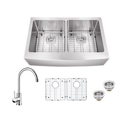 16 Gauge Stainless Steel 32.88 x 20.75 Double Basin Farmhouse/Apron Kitchen Sink with Gooseneck Faucet Faucet Finish: Polished Chrome
