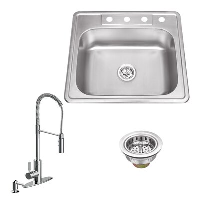 20 Gauge Stainless Steel 25 x 22 Drop-In Kitchen Sink with Pull Out Faucet and Soap Dispenser Faucet Finish: Polished Chrome