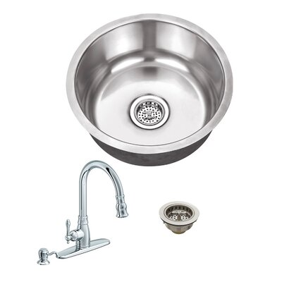 18 Gauge Stainless Steel 17.13 x 17.13 Undermount Bar Sink with Arc Faucet Faucet Finish: Polished Chrome