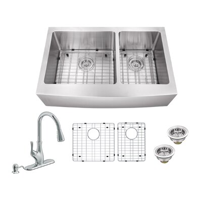 33 x 20.75 Apron Front Double Bowl Undermount Kitchen Sink with Faucet Faucet Finish: Polished Chrome