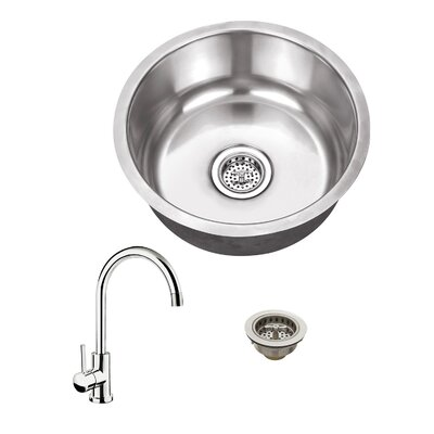 17.13 X 17.13 18 Gauge Single Bowl Round Bar Sink with Faucet Faucet Finish: Polished Chrome