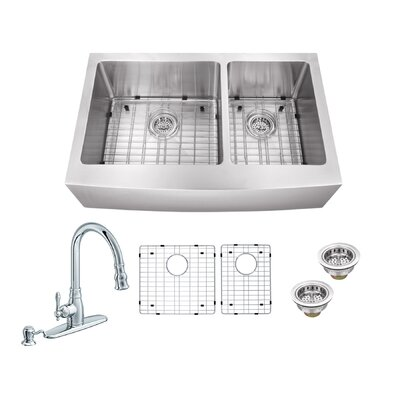 36 x 20.75 Apron Front 60/40 Double Bowl Undermount Stainless Steel Kitchen Sink with Faucet Faucet Finish: Polished Chrome