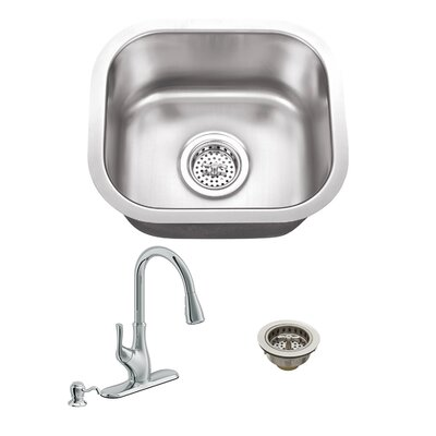 18 Gauge Stainless Steel 14.5 x 13 Undermount Bar Sink with Gooseneck Faucet Faucet Finish: Polished Chrome