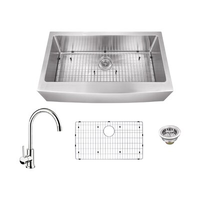 16 Gauge Stainless Steel 32.88 x 20.75 Farmhouse/Apron Kitchen Sink with Gooseneck Faucet Faucet Finish: Polished Chrome