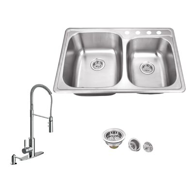 20 Gauge Stainless Steel 33.13 x 22 Double Basin Drop-In Kitchen Sink with Pull Out Faucet and Soap Dispenser Faucet Finish: Polished Chrome