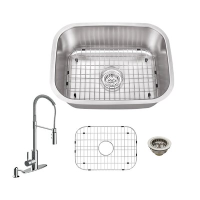 18 Gauge Stainless Steel 23.44 x 17.75 Undermount Bar Sink with Pull Out Faucet and Soap Dispenser Faucet Finish: Polished Chrome