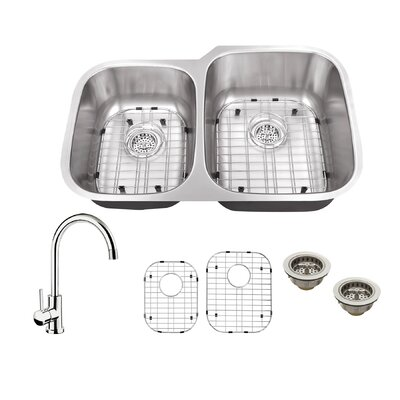 16 Gauge Stainless Steel 32 x 20.75 Double Basin Undermount Kitchen Sink with Gooseneck Faucet Faucet Finish: Polished Chrome