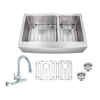 33 x 20.75 Double Bowl Undermount Apron Front Kitchen Sink with Faucet Faucet Finish: Polished Chrome