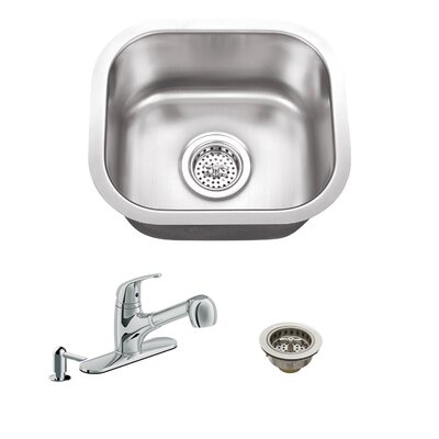 18 Gauge Stainless Steel 14.5 x 13 Undermount Bar Sink with Low Profile Pull Out Faucet Faucet Finish: Polished Chrome