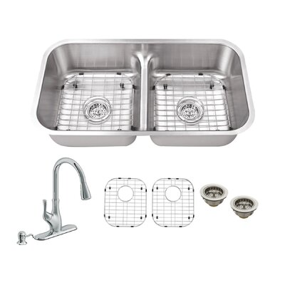 32.5 x 18.13 Double Bowl Undermount Kitchen Sink with Low Divider and Faucet Faucet Finish: Polished Chrome