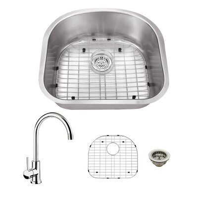 23.25 x 20.88 Single Bowl Kitchen Sink with Faucet Faucet Finish: Polished Chrome